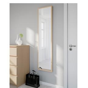 Stave spejl fra IKEA med hvid ramme (bil - København - Stave spejl fra IKEA med hvid ramme (billed nr.2). 40 x 160 cm. Pænt brugt, god stand. - København