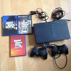 PlayStation 2 med tilhørende GTA spil.  - Aalborg  - PlayStation 2 med tilhørende GTA spil. Der medfølger stick til strøm og TV. - Aalborg