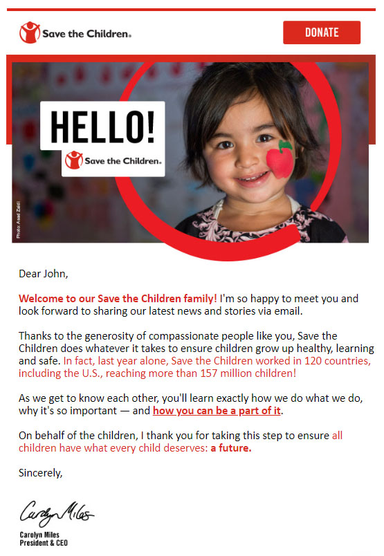 Save the Children fundraising email example