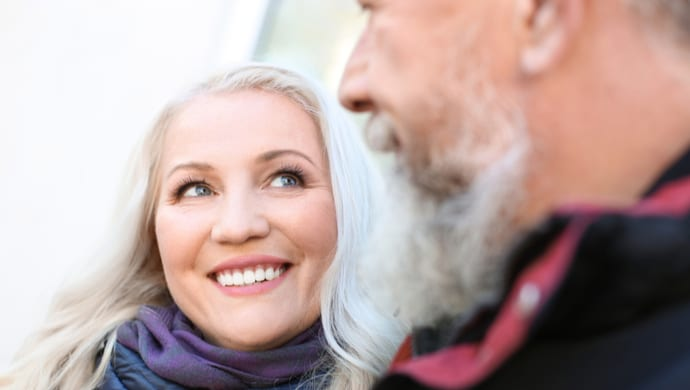 dating over 50 tips woman looking at man
