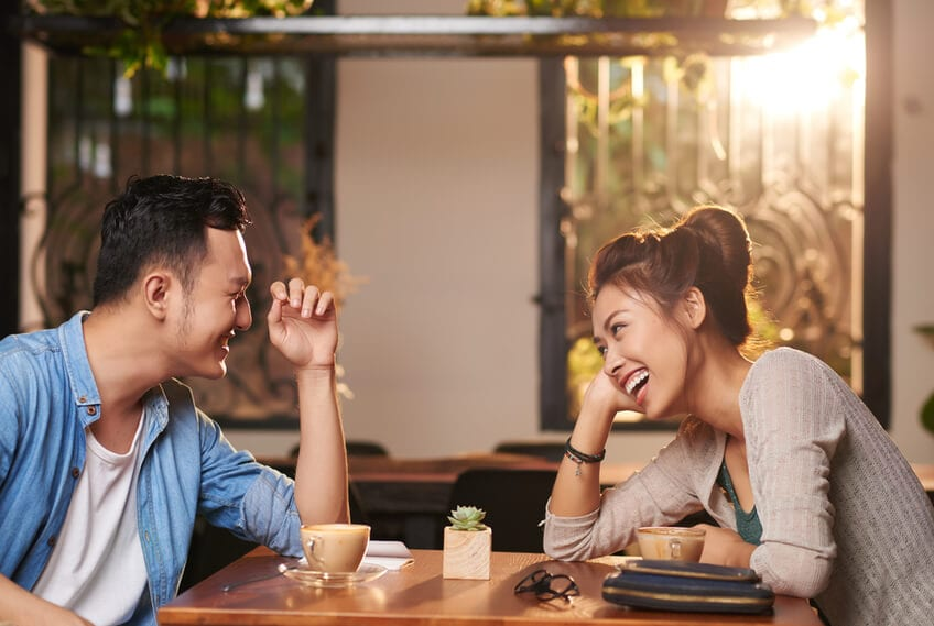 man and woman on a first date