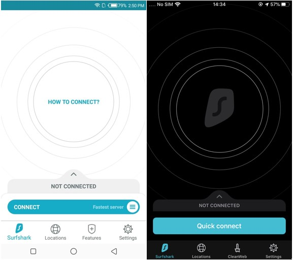 SurfShark Android & iOS apps