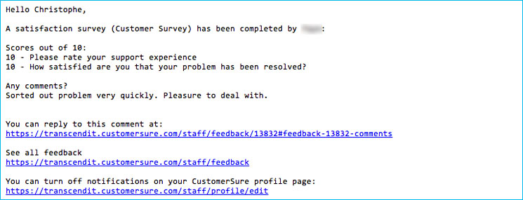 Customersure Feedback Email