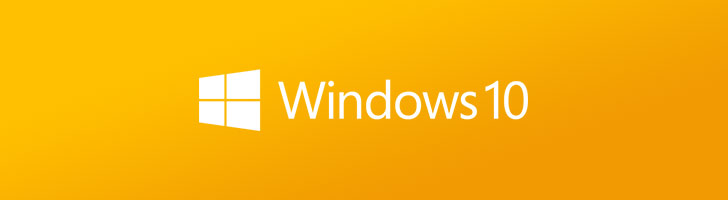 Windows 10 logo on a yellow background