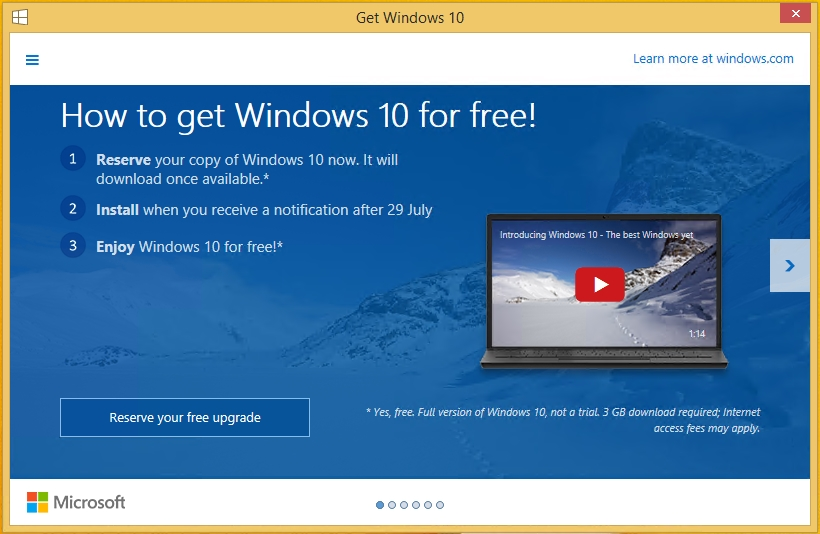Windows10 Upgade Dialog