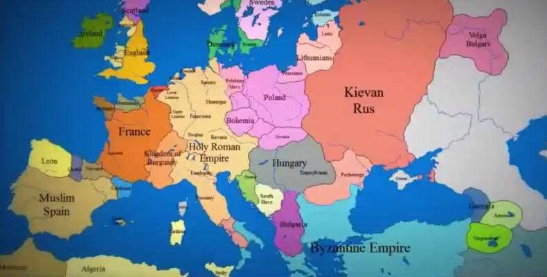 Map Of Europe In 1000.Watch As 1000 Years Of European Borders Change Timelapse Map