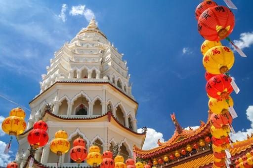 Kek Lok Si Temple in Penang, with Chinese lanterns