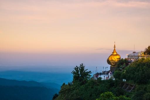 Kyaiktiyo Pagoda in Burma at sunrise