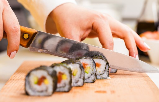 Japanese Sushi being cut