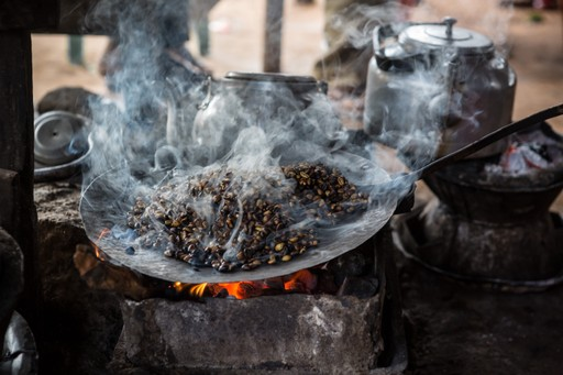 Coffee being roasted in Ethiopia