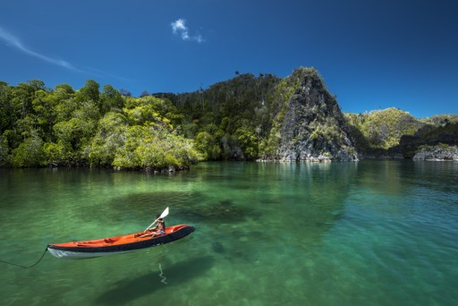 Canoeing in Raja Ampat Indonesia