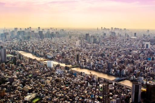 Sunset aerial view over Tokyo, Japan