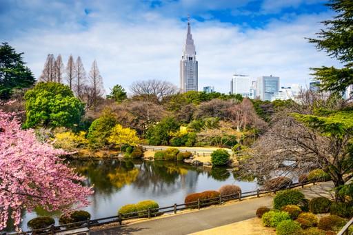 Cityskyline above Shinjuku Gyoen National Garden in Tokyo