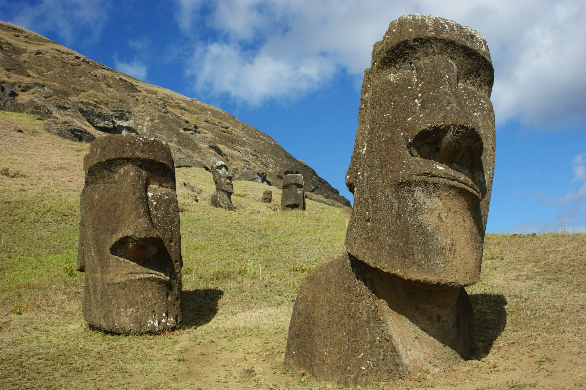 The giant stone figures of Easter Island