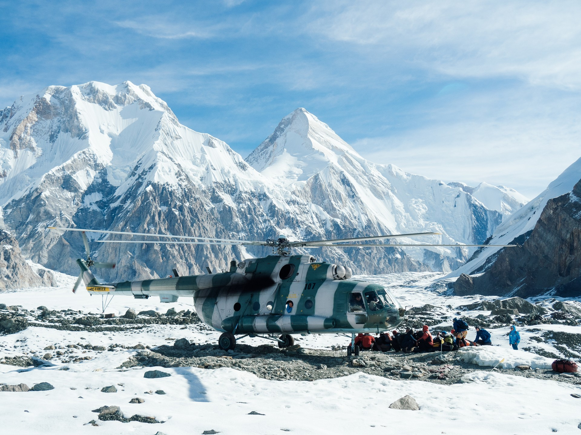 Helicopter on Inylchek Glacier in Kyrgyzstan