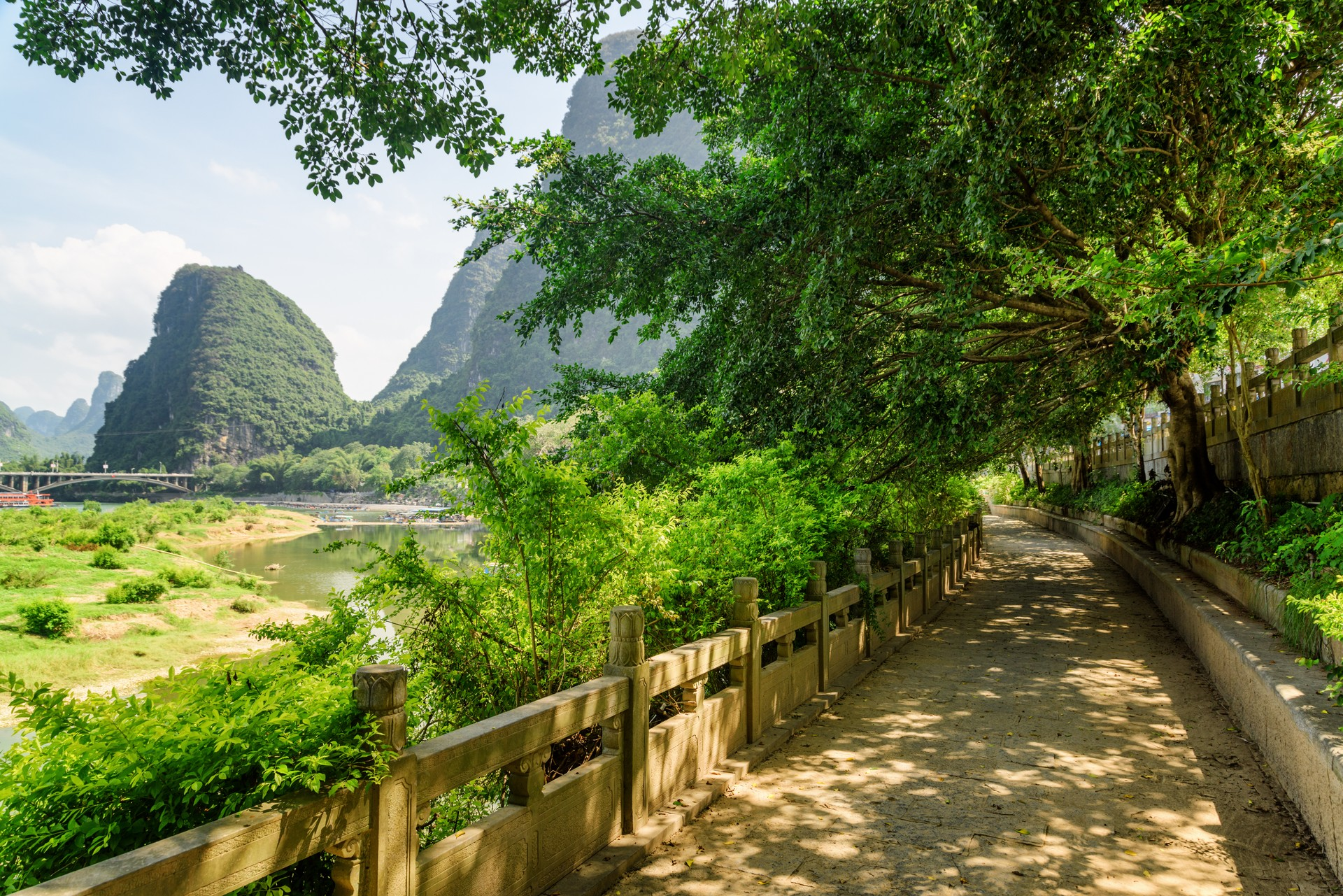 Walkway alongside Li River, China