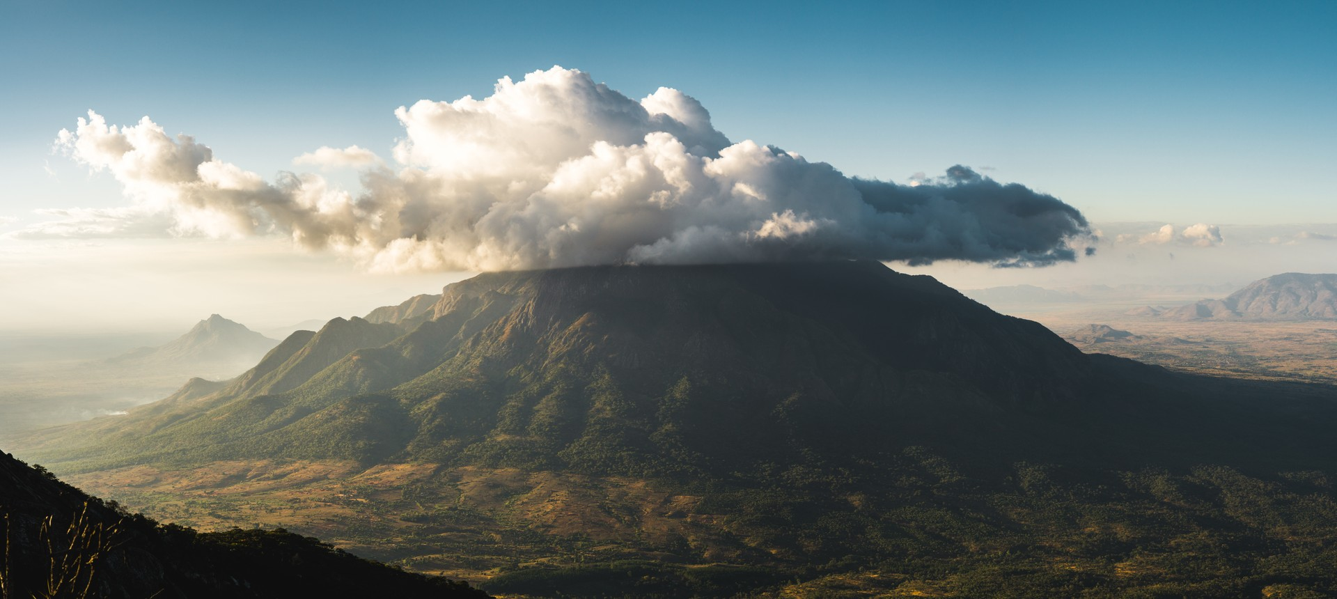 Mount Mulanje in Namibia with a hat of clouds