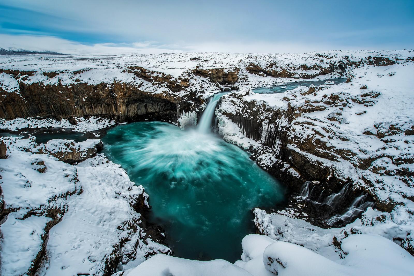 Aldeyjarfoss waterfall in winter, Iceland