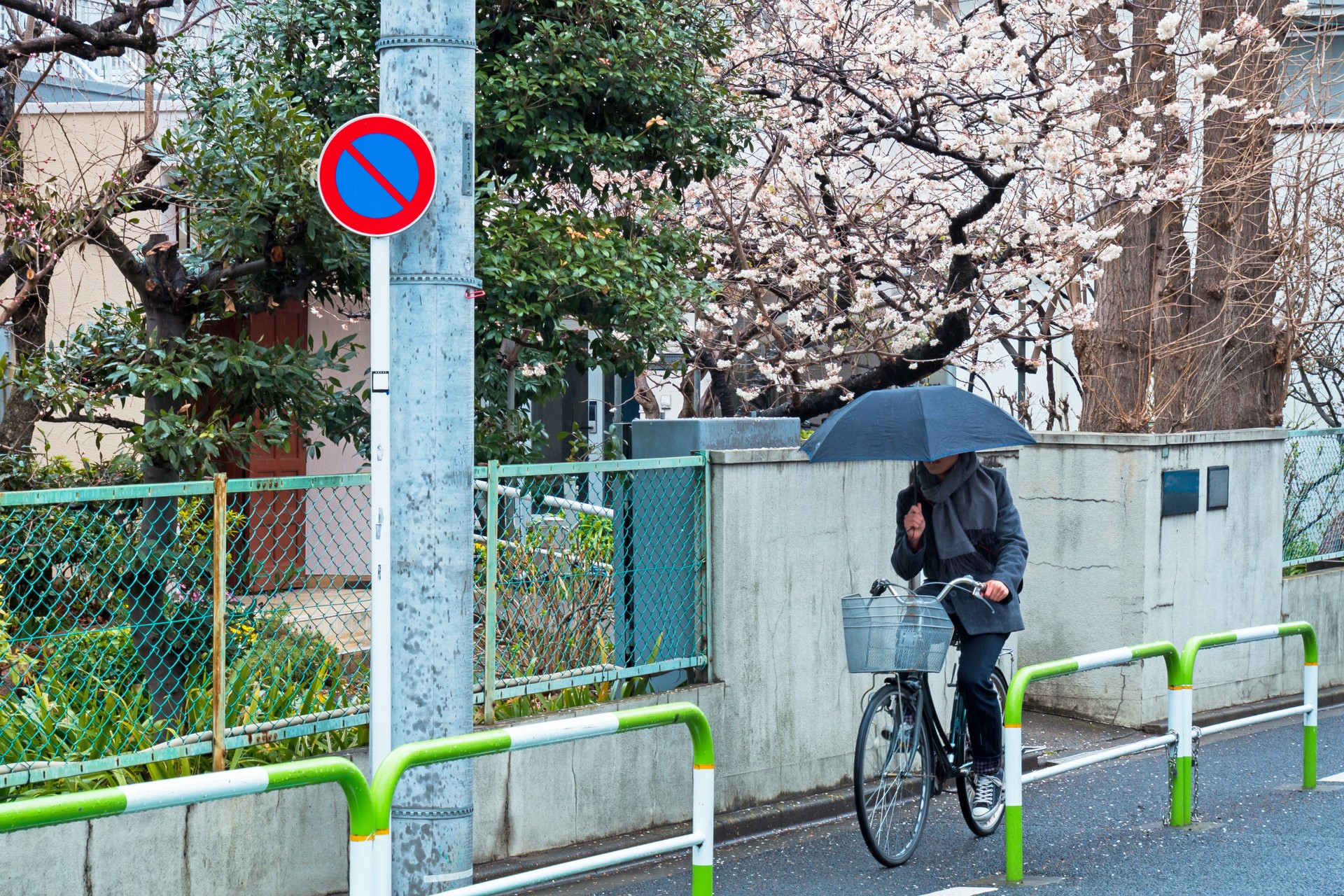 Cycling in the rain in Tokyo