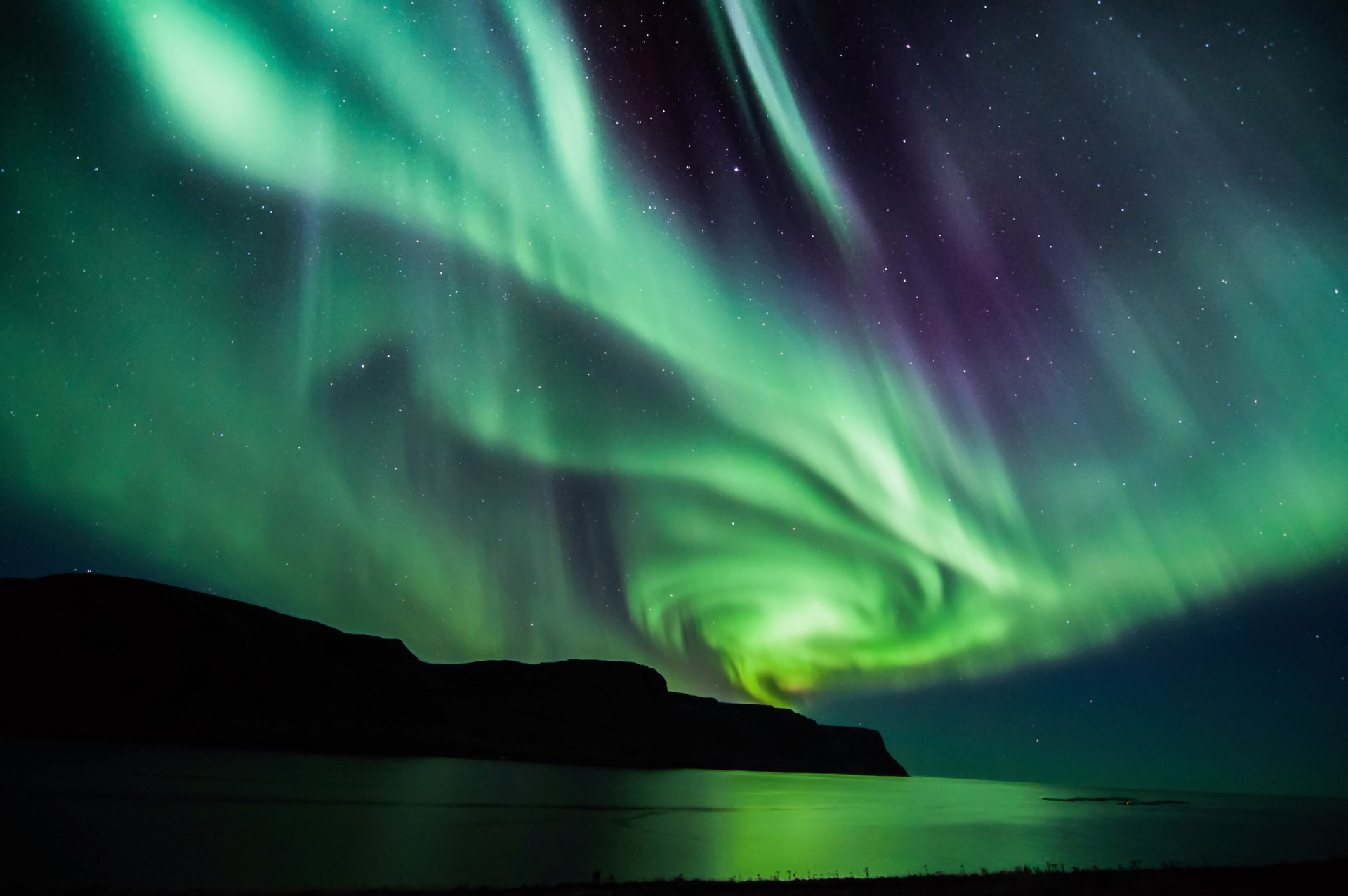 Autumn northern lights in Iceland