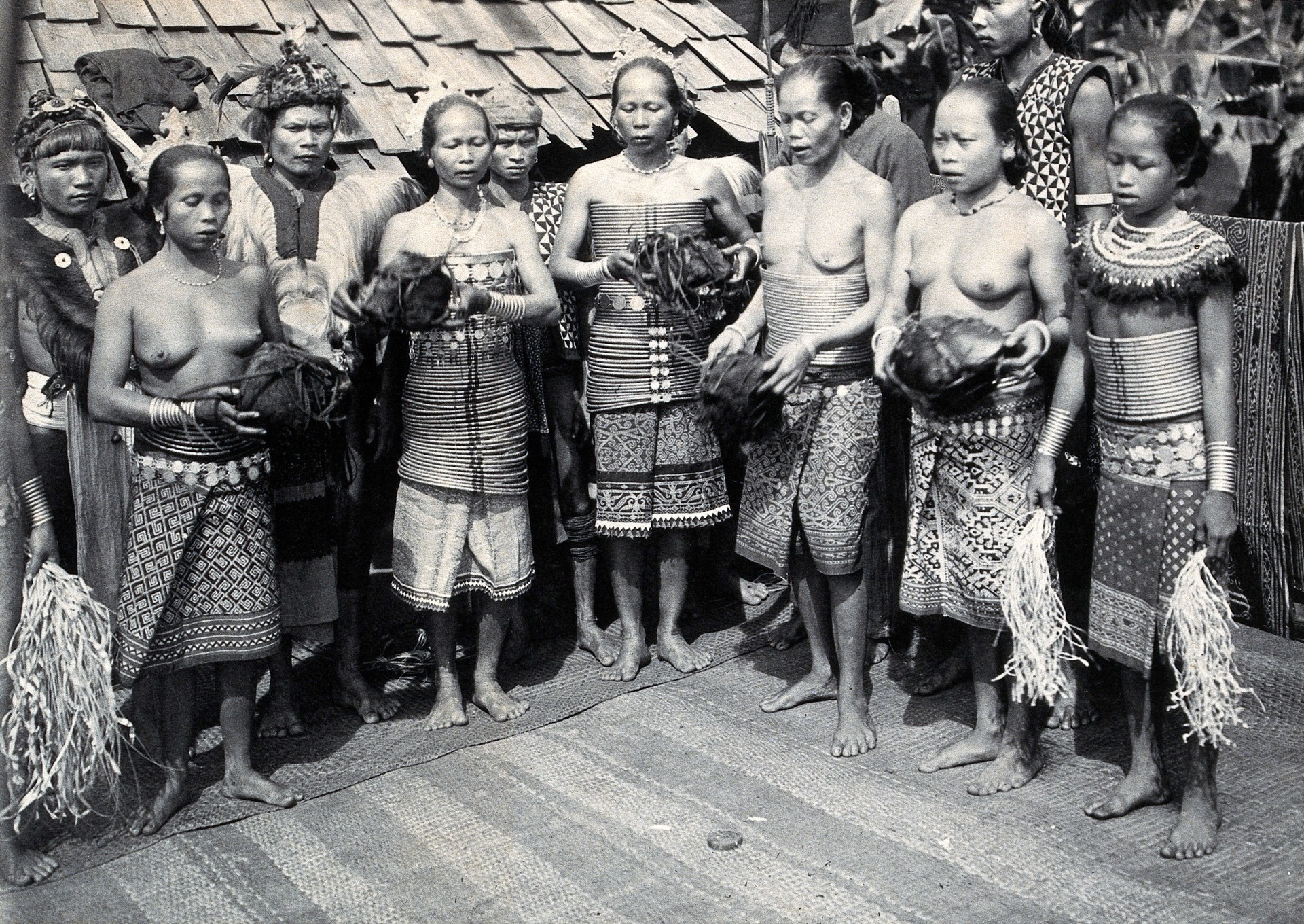 The Iban tribe or Sea Dayaks, legendary headhunters of Borneo