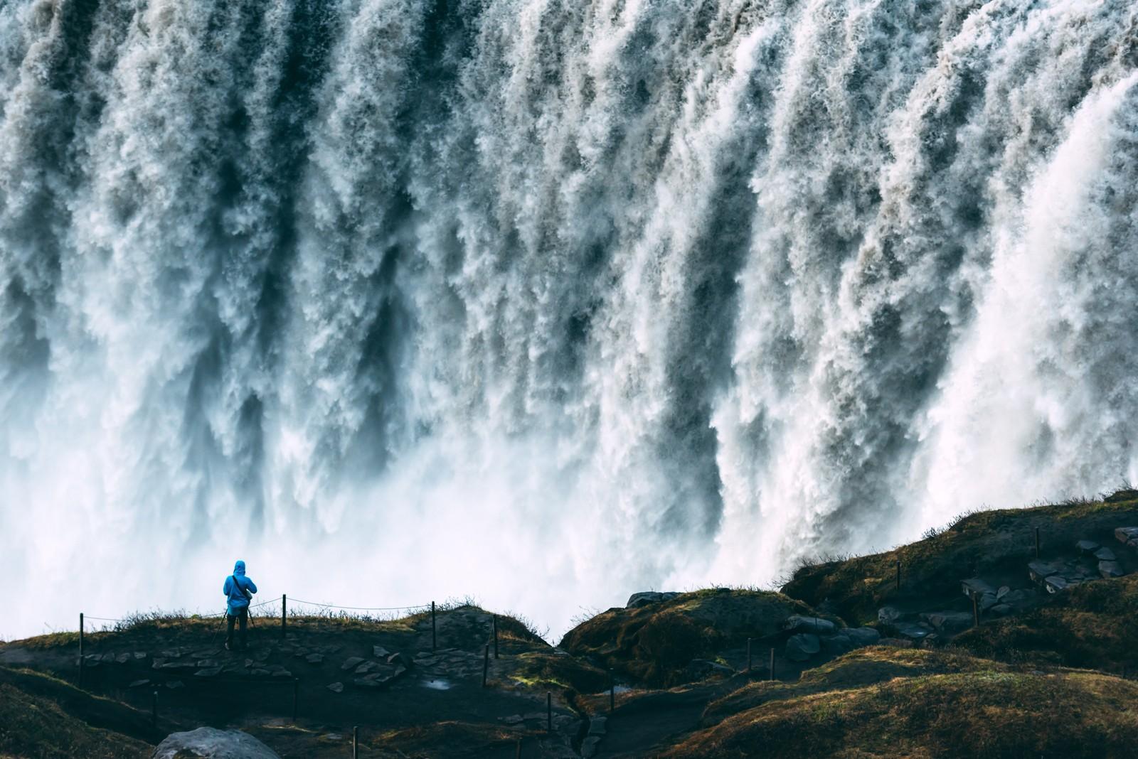 Onlooker admires the Dettifoss cascade