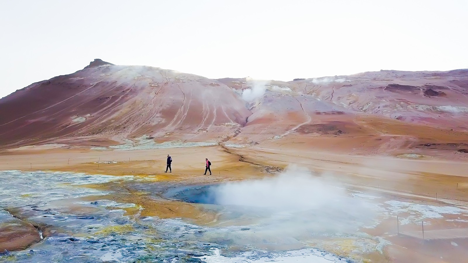 Walkers by geysers, Iceland