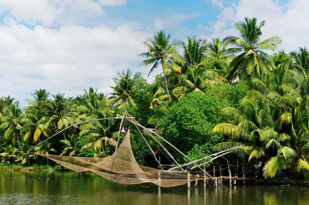 Chinese style fishing nets in Kerala, India