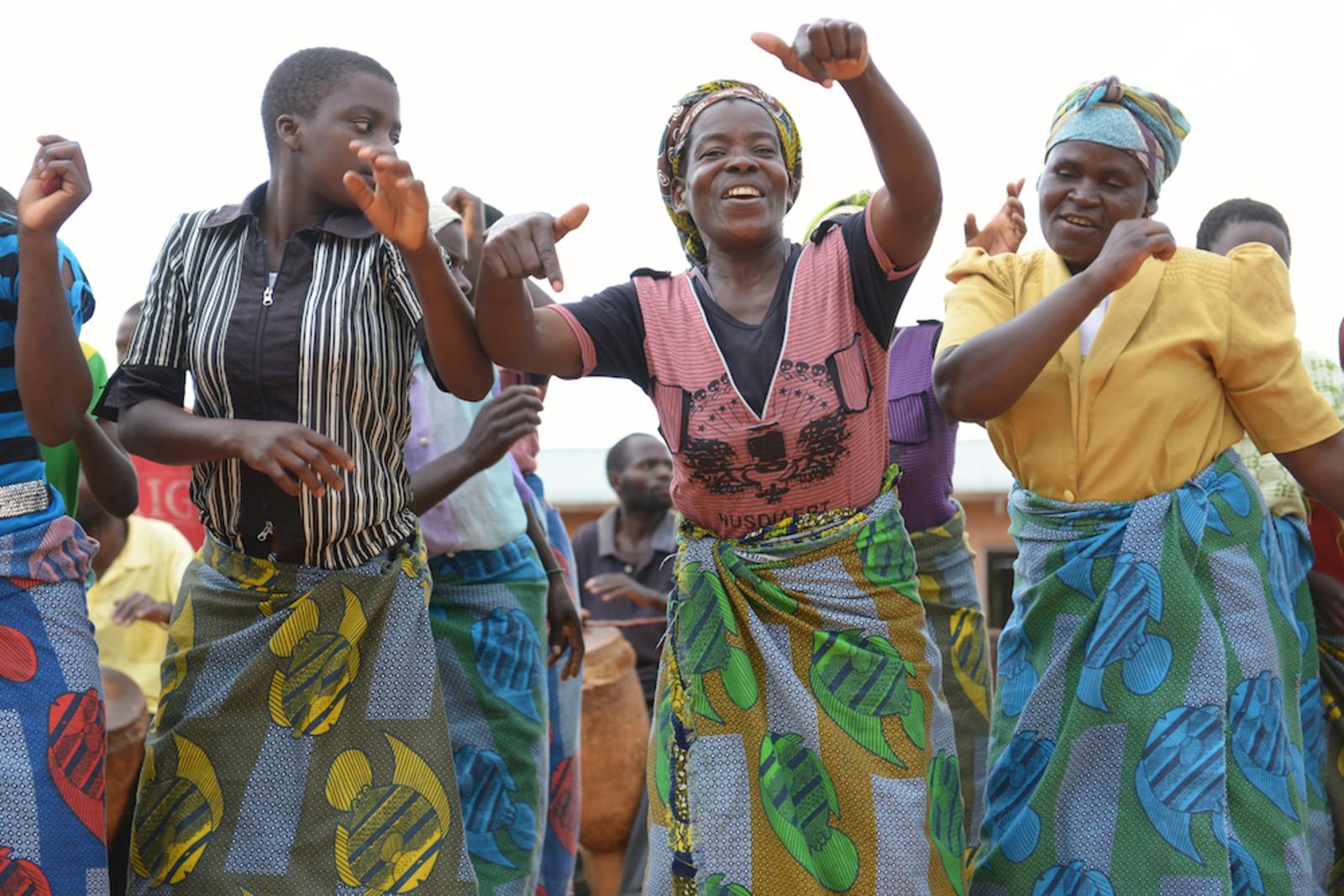 Local women dancing in malawi