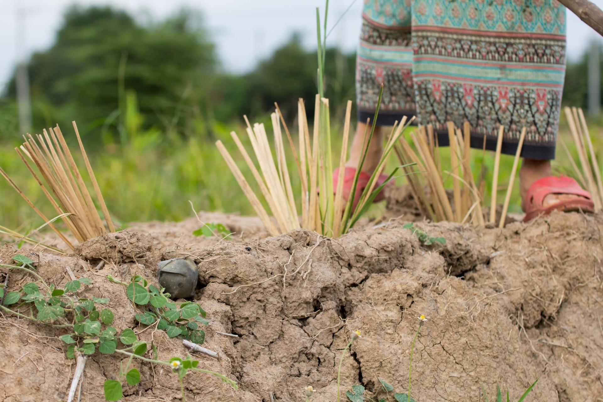 UXO Unexploded mine in rural Laos