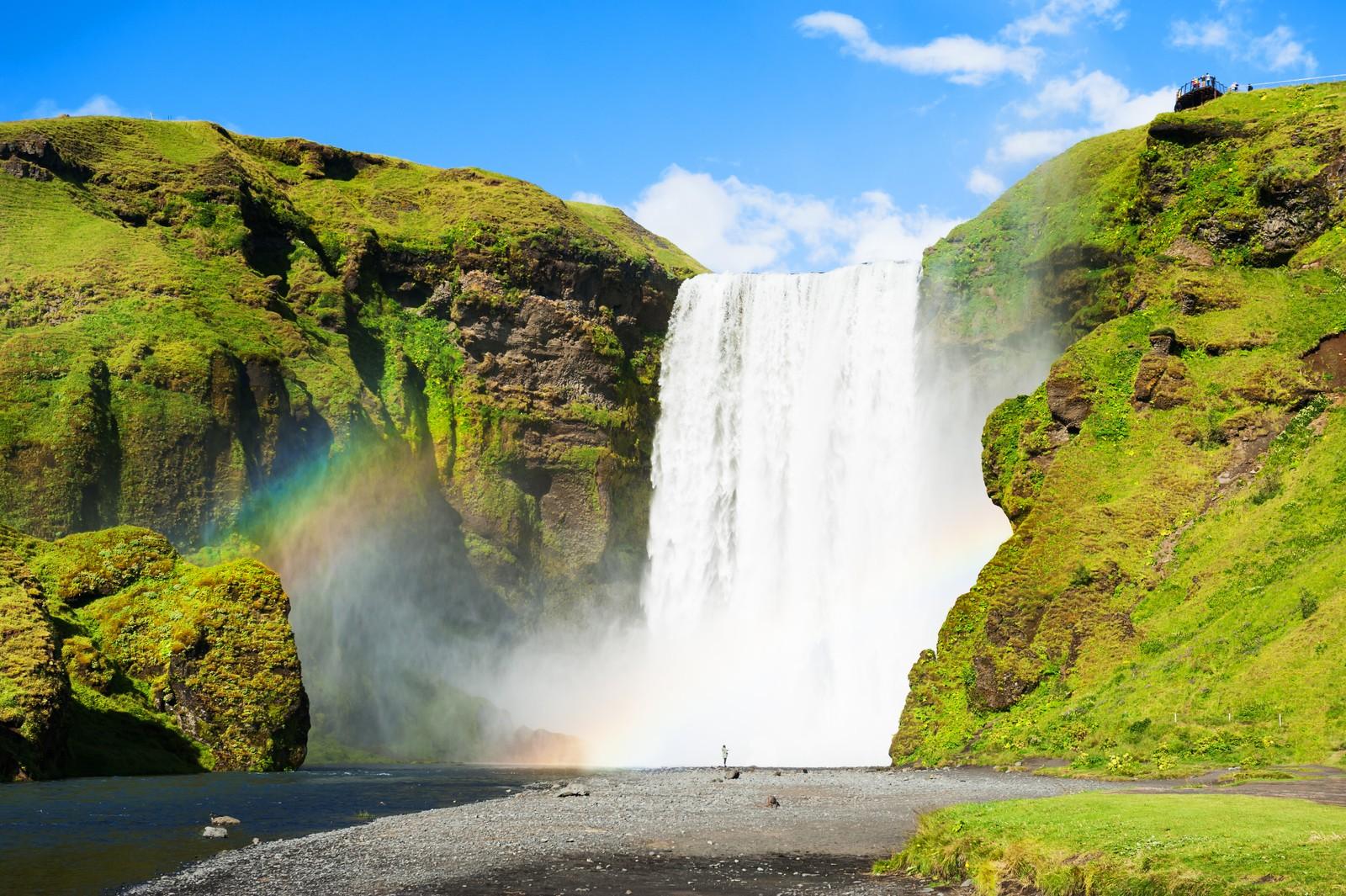 Skógafoss waterfall in the sunshine, Iceland