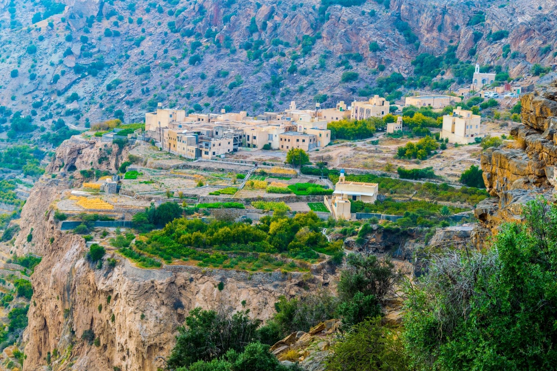 Village on Saiq Plateau on Jebel Akhdar Mountain
