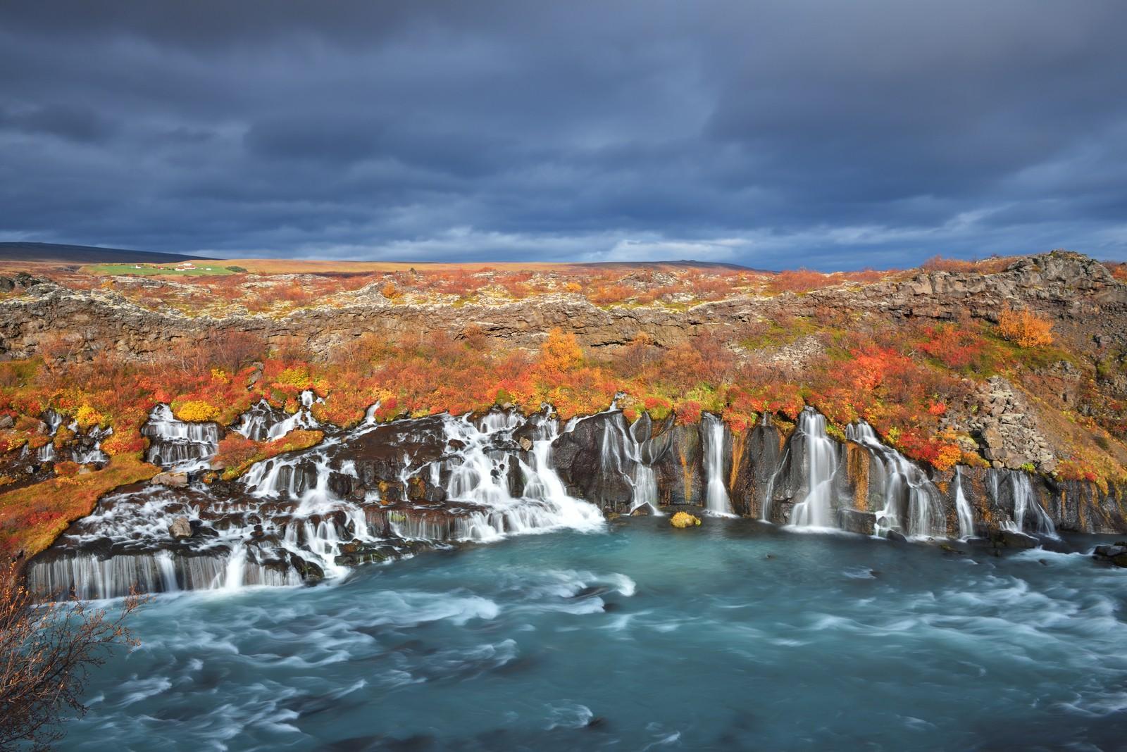 Autumn colours at Hraunfossar, Iceland