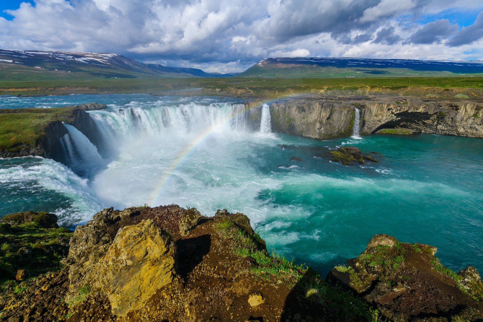 Goðafoss waterfall with a rainbow, Iceland