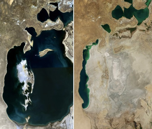 Aral Sea comparison photo - before and after irrigation