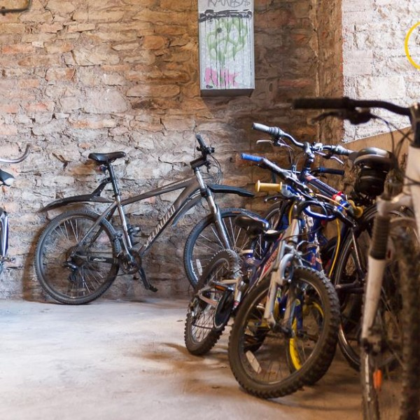 Image: Residents' bikes waiting to be fixed by Dr Bike