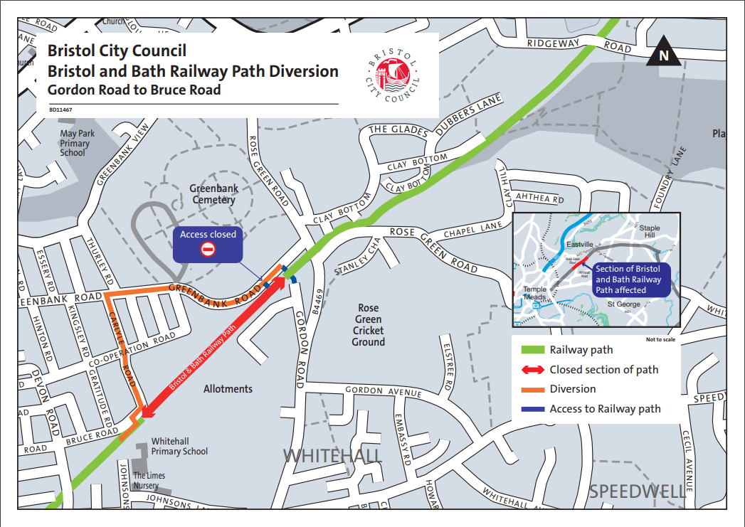 B2B rail path closure map June 2019