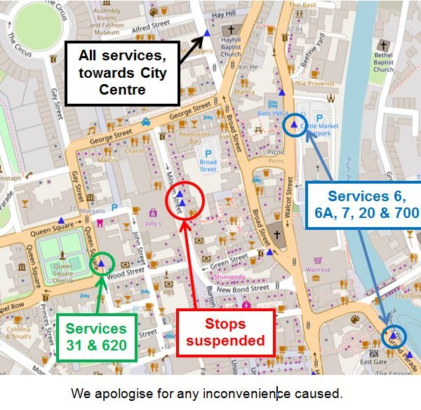 Image: Map of alternative stops during Milsom Street closure