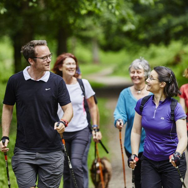 Image: nordic walking group exercise technique