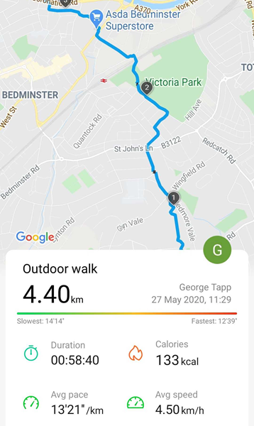 Image: South Bristol walk route map