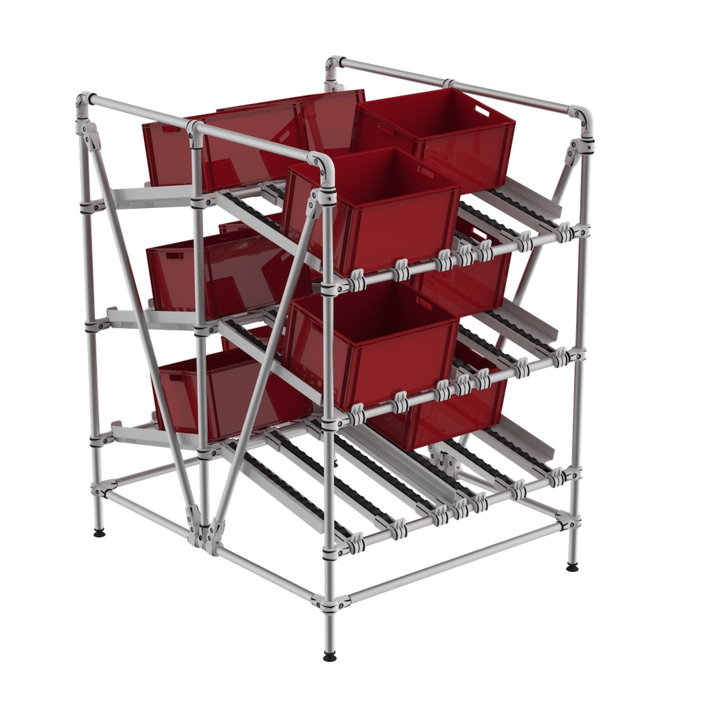 Plastic bin dual picking shelf