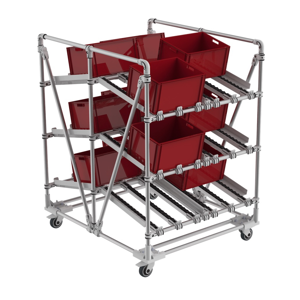 Plastic bin dual picking cart