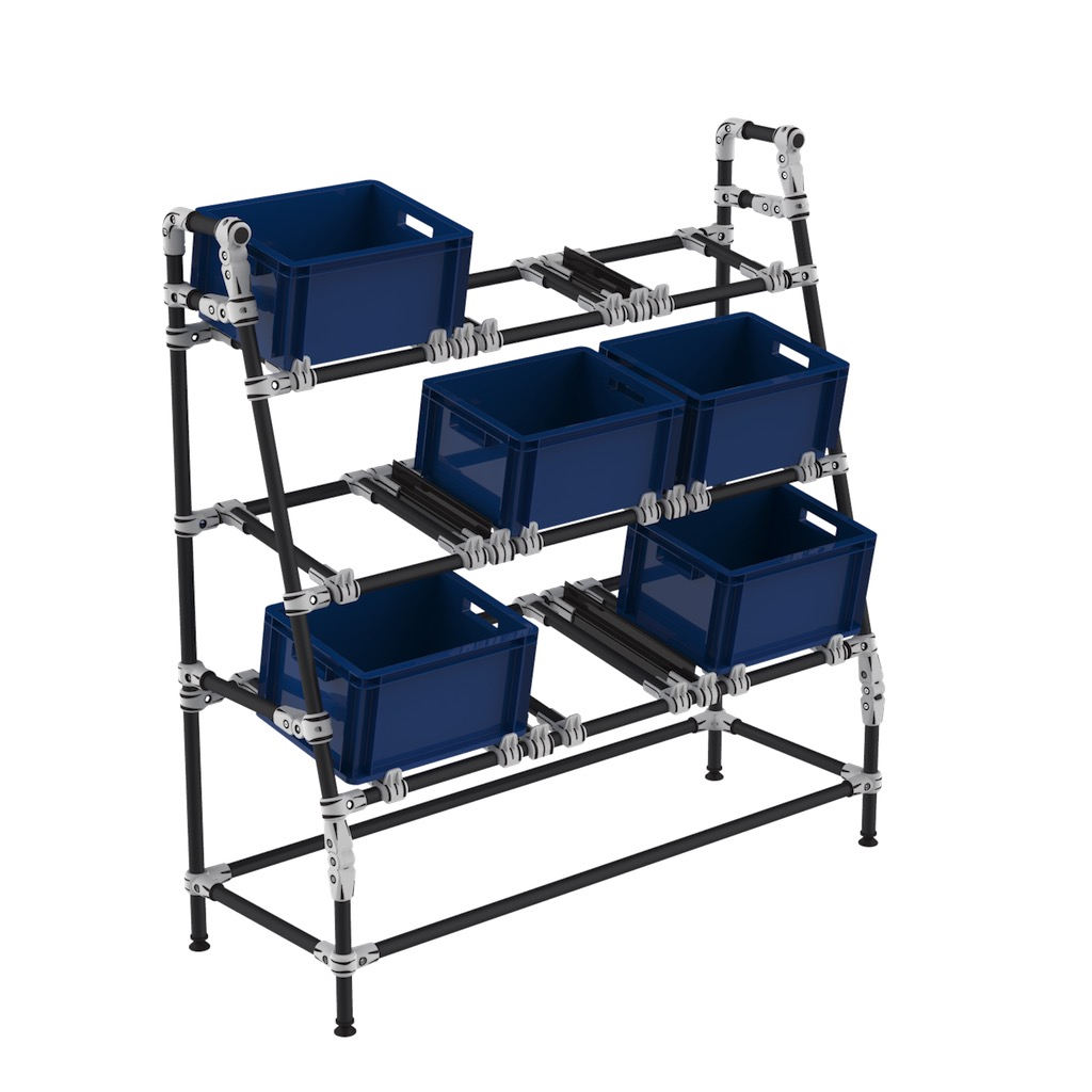 Flexible picking bin shelf