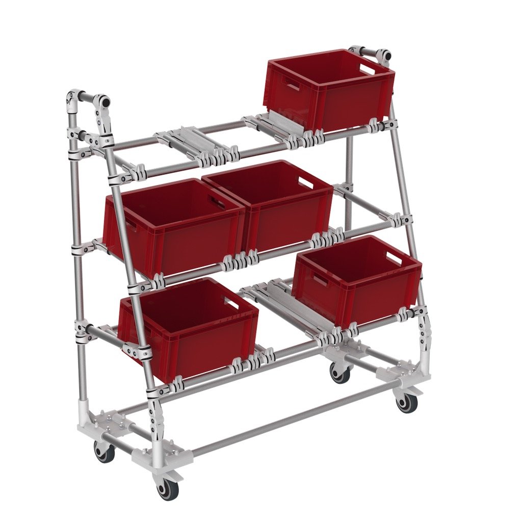 Flexible picking box trolley