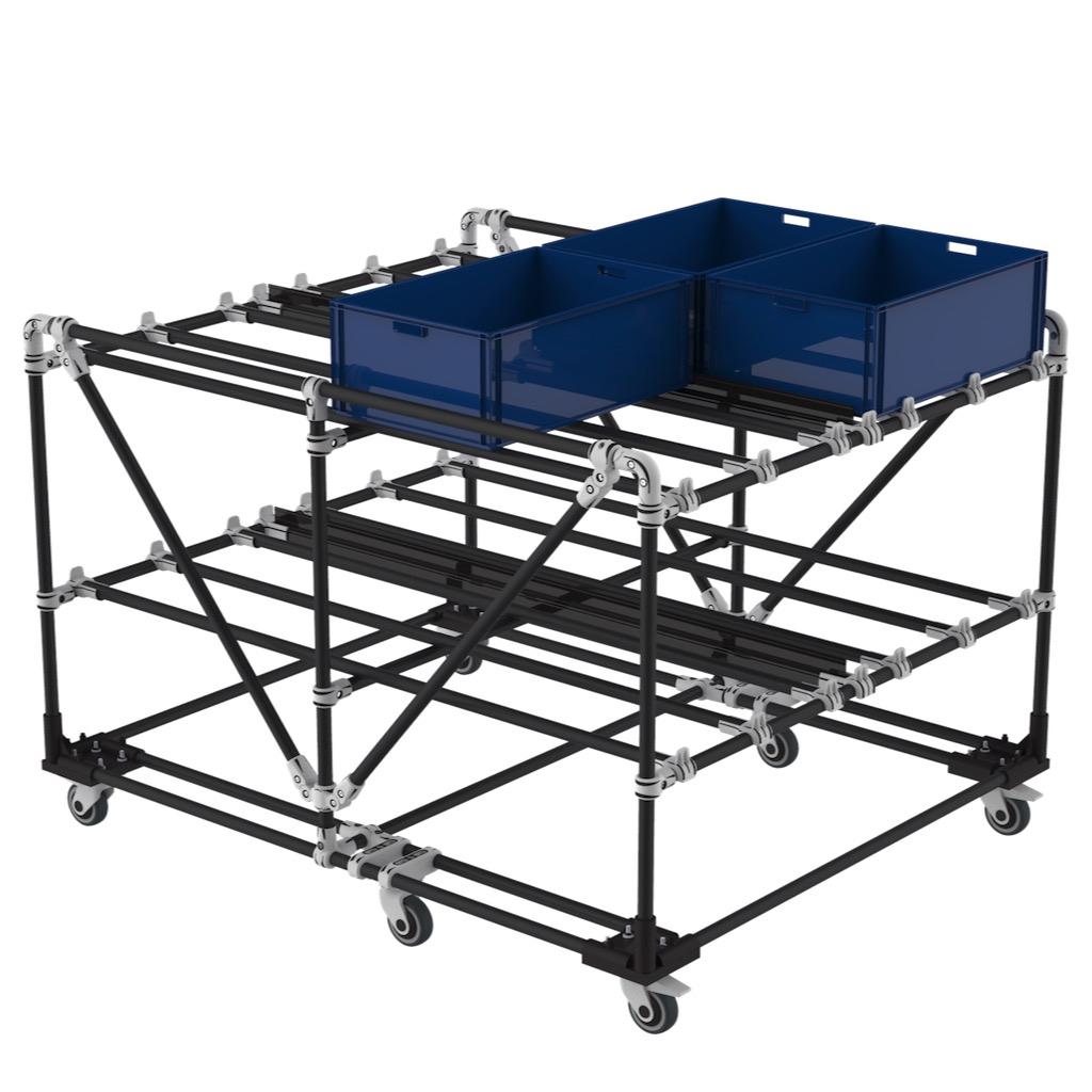 Plastic bin storage trolley
