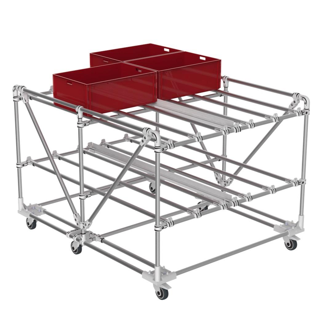 Chariot stockage boites KLT