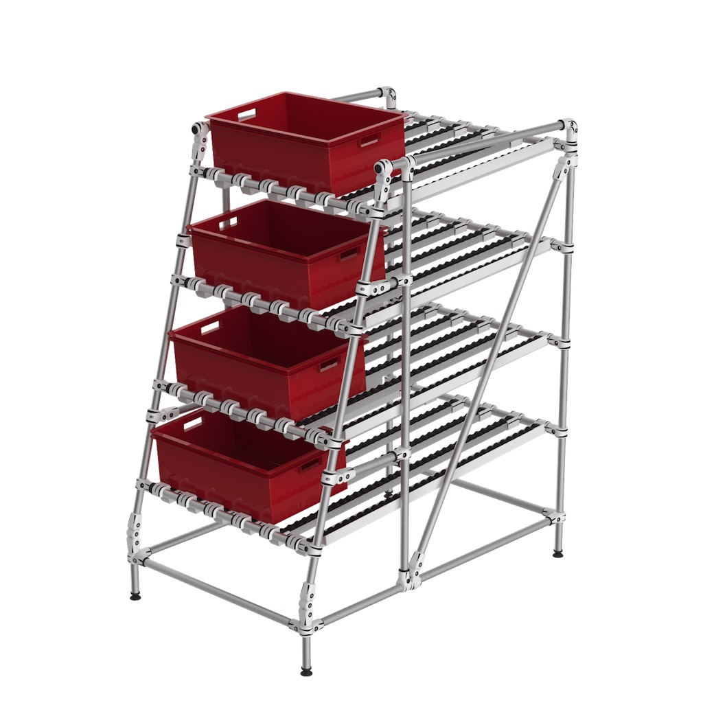 Ergonomic gravity flow rack