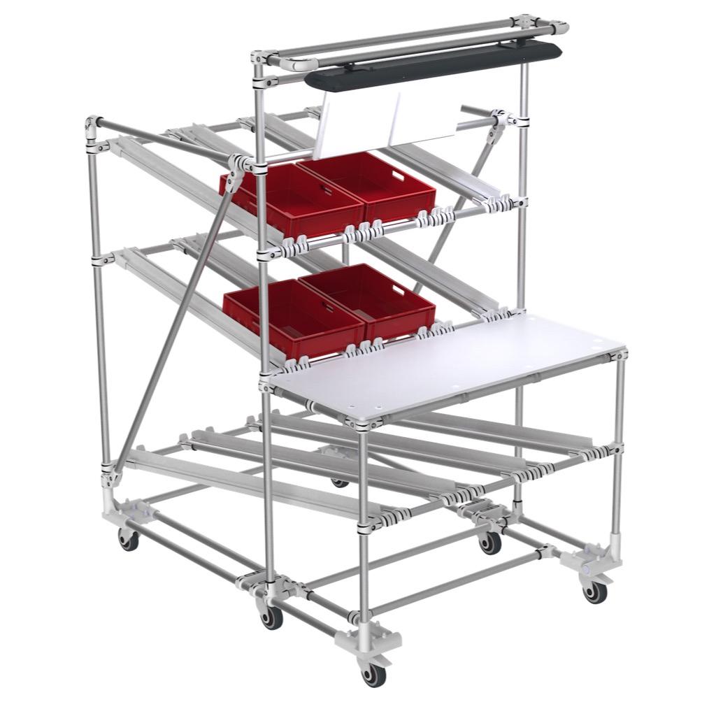 FIFO Kaizen packaging cart
