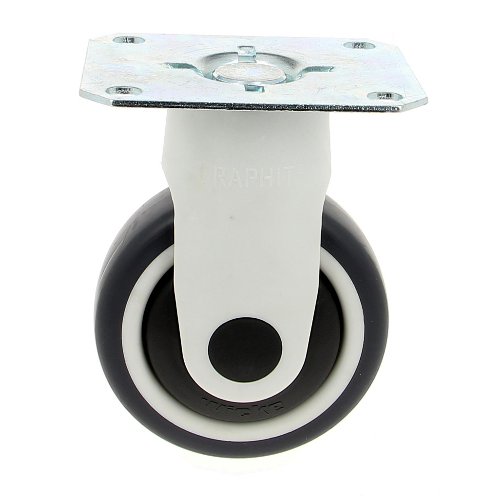 CP-100-BLACK Roulette platine fixe Ø100 mm - charge max 100 kg