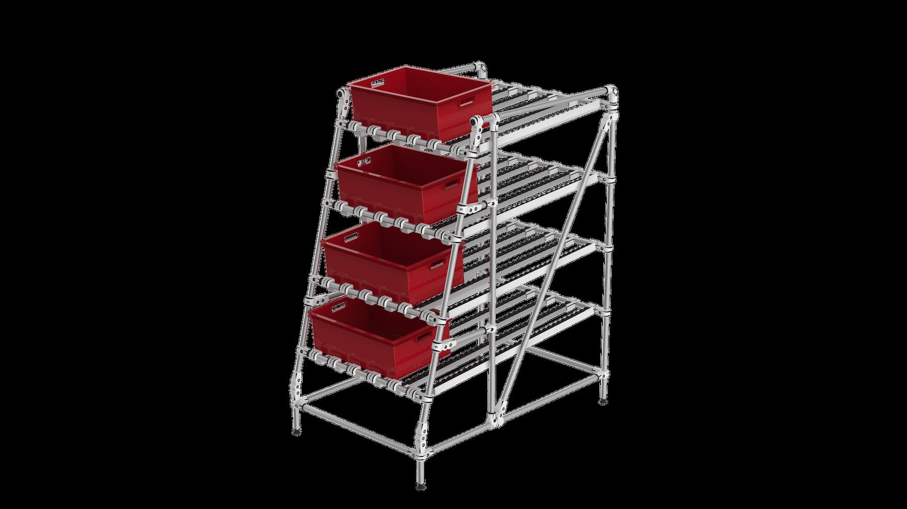 Ergonomic gravity flow rack